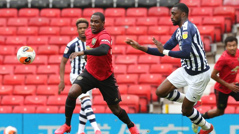Odion Ighalo, who recently extended his loan deal at Old Trafford, looks to shoot during the friendly