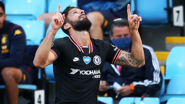 Olivier Giroud after putting Chelsea 2-1 up at Aston Villa