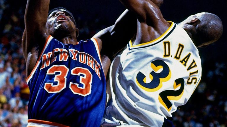 Knicks center Patrick Ewing shoots over Pacers forward Dale Davis in Game 3 of the 1994 Eastern Conference Finals