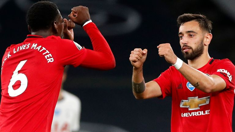 Paul Pogba and Bruno Fernandes impressed together in the Manchester United midfield against Tottenham