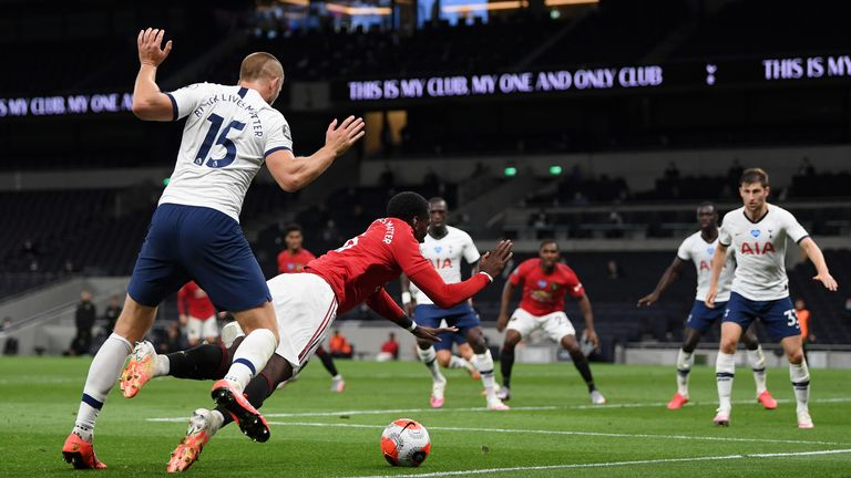 Paul Pogba of Manchester United is awarded a penalty after a foul by Eric Dier of Tottenham