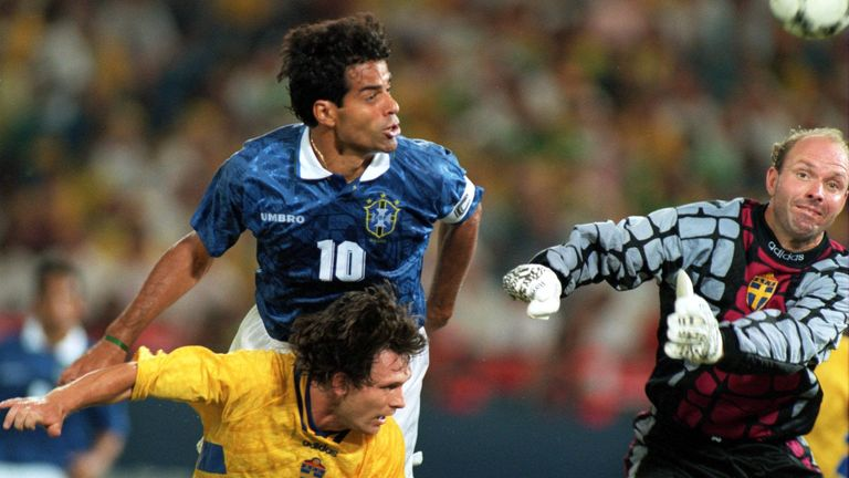 Rai in action for Brazil against Sweden in the World Cup semi-finals