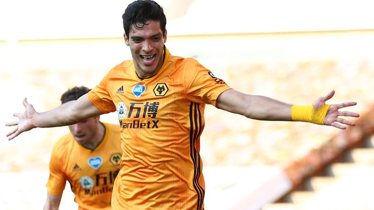 Raul Jimenez celebrates after putting Wolves 1-0 up against Bournemouth