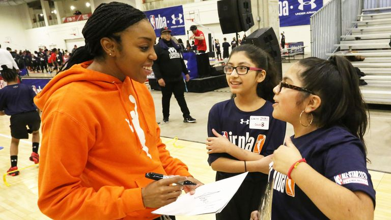 Renee Montgomery meets young WNBA fans at a Jr NBA event in Chicago