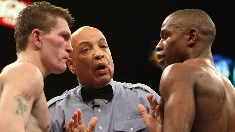 Ricky Hatton of England throws a right at Floyd Mayweather Jr. during their WBC world welterweight championship fight at the MGM Grand Garden Arena on December 8, 2007 in Las Vegas, Nevada.