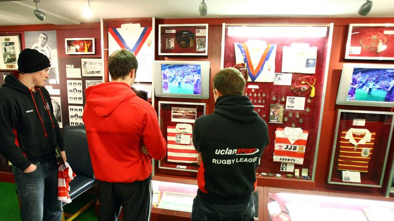 Items from Stevo's collection on display in the former Rugby League Heritage Centre