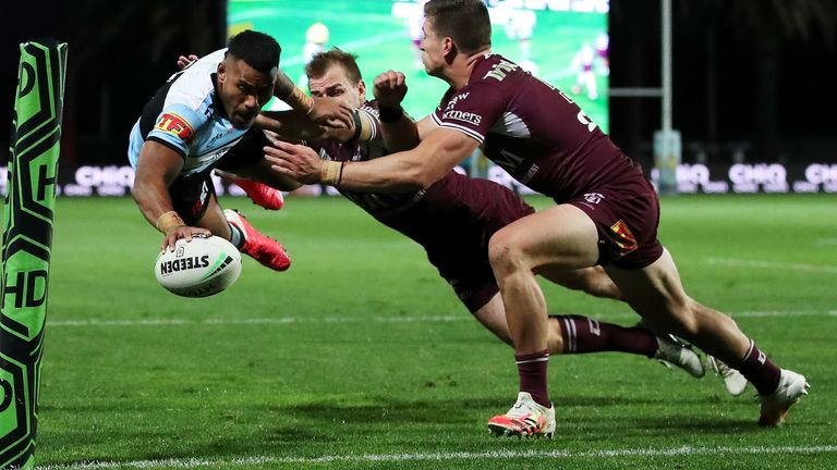 Cronulla's in-form winger Sione Katoa scored a try in each half against Manly