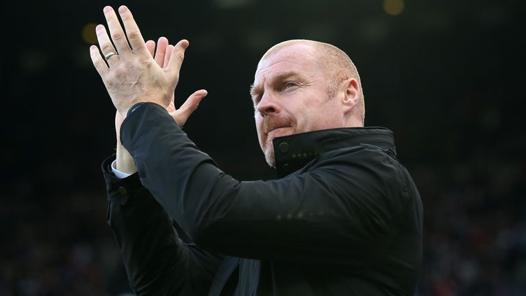 Sean Dyche, Manager of Burnley applauds fans prior to the Premier League match between Newcastle United and Burnley FC at St. James Park on February 29, 2020 in Newcastle upon Tyne, United Kingdom