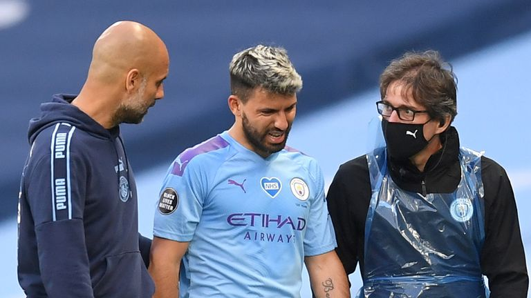 Pep Guardiola shows concern for Sergio Aguero as he limps off against Burnley