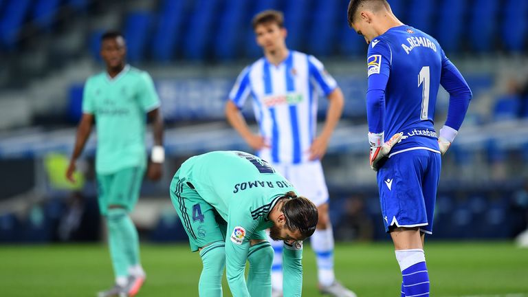 Sergio Ramos lines up a penalty under the gaze of Real Sociedad goalkeeper Alex Remiro