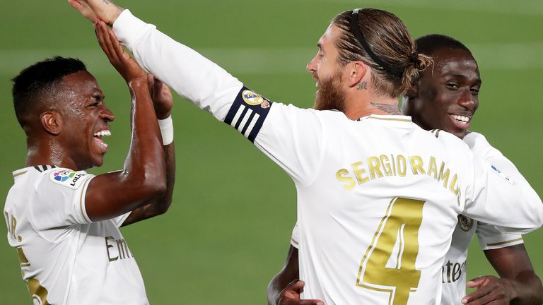 Ramos is congratulated by Vinicius Junior after extending Madrid's lead
