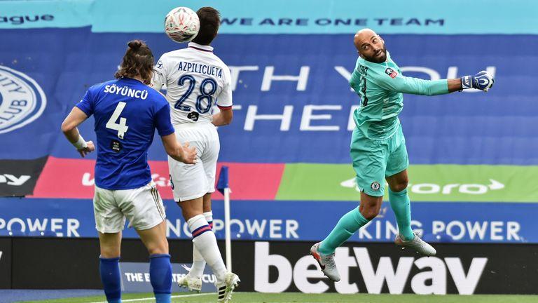 Soyuncu's header is blocked by Chelsea's Cesar Azpilicueta