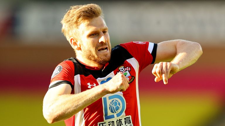 Stuart Armstrong celebrates after putting Southampton 2-0 up at Norwich