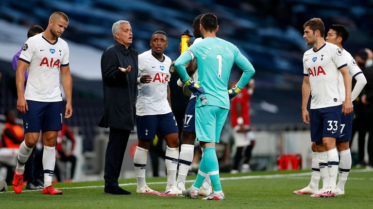 Jose Mourinho uses the drinks break to discuss tactics with his Tottenham players