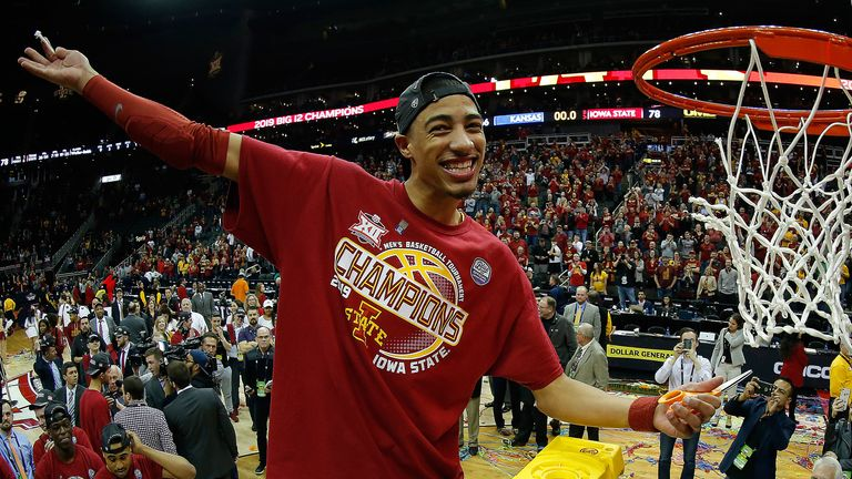 Tyrese Haliburton cuts down the nets following Iowa State's win in the 2019 Big 12 tournament