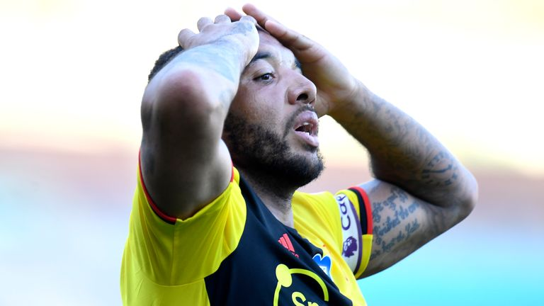 Troy Deeney reacts after his header is cleared off the line in Watford's game against Burnley