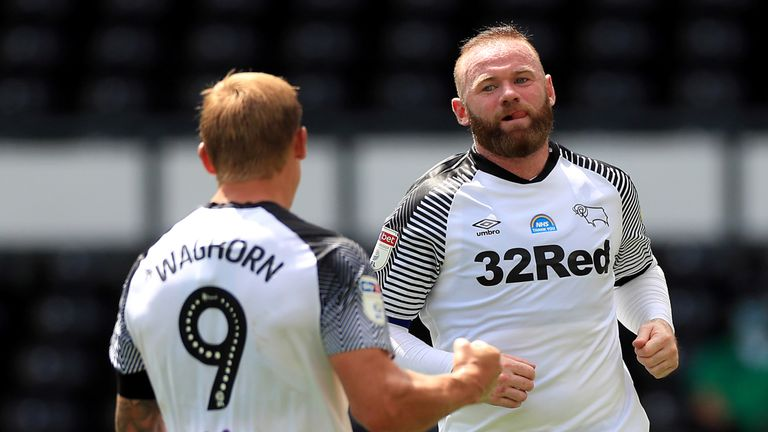 "Derby County's Wayne Rooney celebrates scoring his side's second goal of the game from the penalty spot during the Sky Bet Championship match at Pride Park, Derby. PA Photo. Issue date: Saturday June 27, 2020. See PA story SOCCER Derby. Photo credit should read: Mike Egerton/PA Wire. RESTRICTIONS: EDITORIAL USE ONLY No use with unauthorised audio, video, data, fixture lists, club/league logos or ""live"" services. Online in-match use limited to 120 images, no video emulation. No use in betting, games or single club/league/player publications."