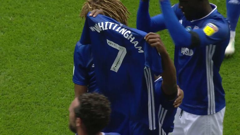 Junior Hoilett raises Peter Whittingham's shirt after scoring against Leeds as a tribute to the former Cardiff player.
