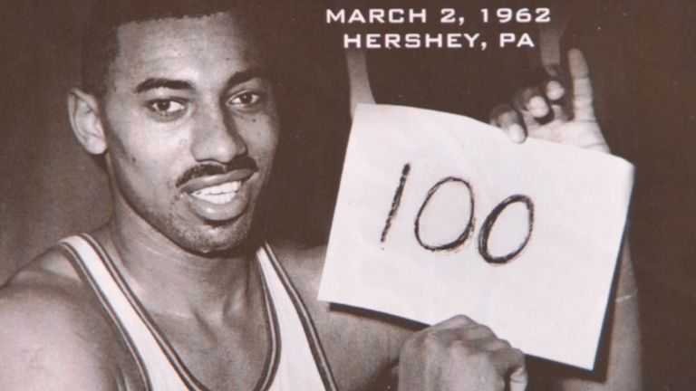 The 50th anniversary of Wilt Chamberlain's 100-point game is celebrated by the NBA