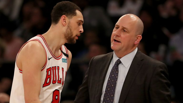 Jim Boylen exchanges words with Zach LaVine during a Chicago Bulls game