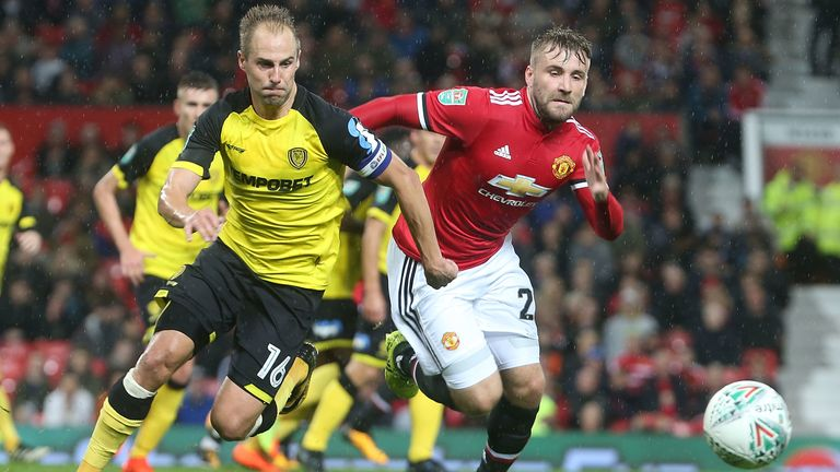 Varney in action for former side Burton Albion against Manchester United in 2017