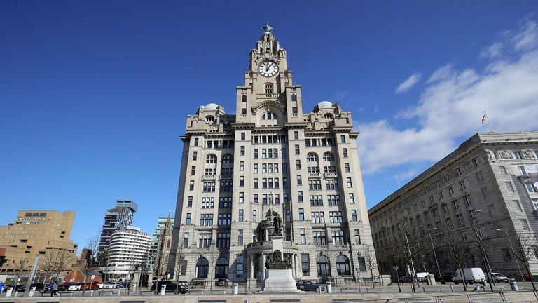 The damage was caused to the Royal Liver Building in Liverpool