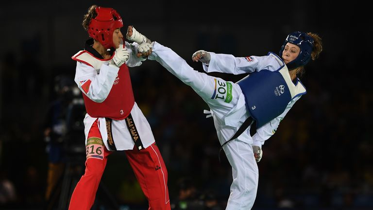 Jones competing against Naima Bakkal of Morocco during the Womens 57kg Taekwondo in Rio