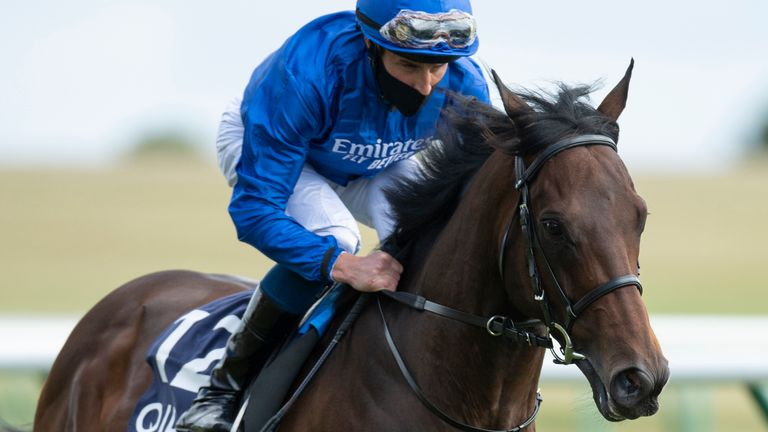 Pinatubo ridden by William Buick at Newmarket Racecourse.