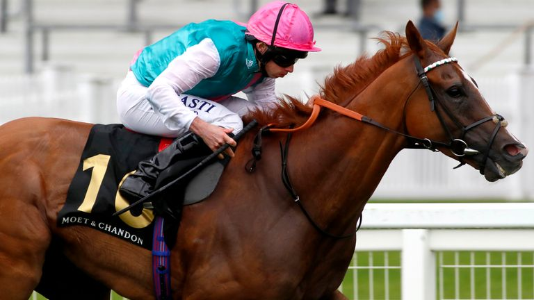 Blue Mist ridden by jockey Ryan Moore wins The Moet & Chandon International Stakes at Ascot Racecourse. PA Photo. Picture date: Saturday July 25, 2020. See PA story RACING Ascot. Photo credit should read: Dan Abraham/PA Wire. RESTRICTIONS: Editorial use only, No commercial use.