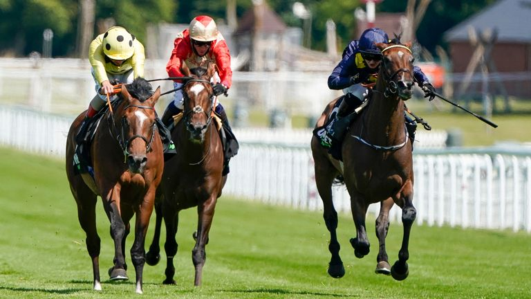 Mambo Nights ridden by Andrea Atzeni (left) win The Unibet 3 Boosts A Day Handicap at Goodwood Racecourse on July 29, 2020 in Chichester, England. Owners are allowed to attend if they have a runner at the meeting otherwise racing remains behind closed doors to the public due to the Coronavirus pandemic. (Photo by Alan Crowhurst/Getty Images)