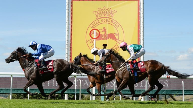 Mohaather ridden by Jim Crowley (left) wins The Qatar Sussex Stakes during day two of the Goodwood Festival at Goodwood Racecourse, Chichester.