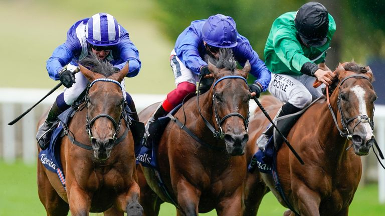 Nazeef (left) edges a Falmouth Stakes thriller