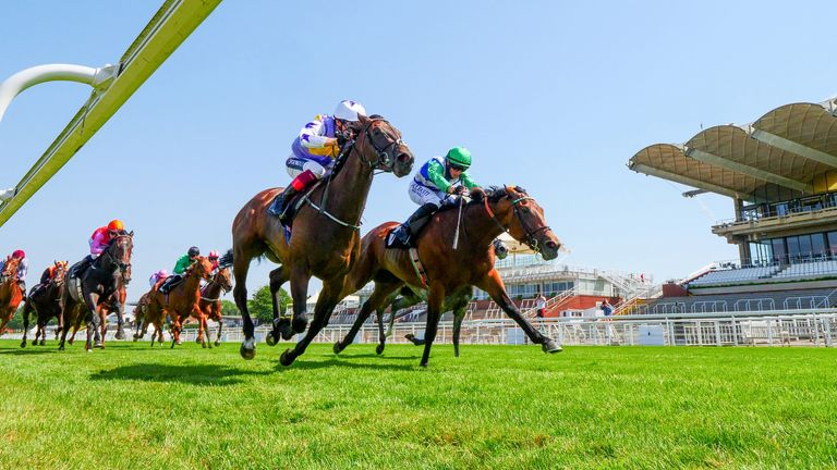One Master ridden by Tom Marquand (right) wins the Saint Clair Oak Tree Stakes during day four of the Goodwood Festival at Goodwood Racecourse, Chichester.