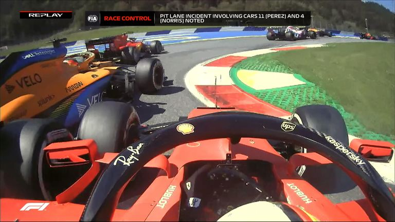 Charles Leclerc and Carlos Sainz were battling for position into Turn Three but Sebastian Vettel tried to make a move up the inside and goes spinning!