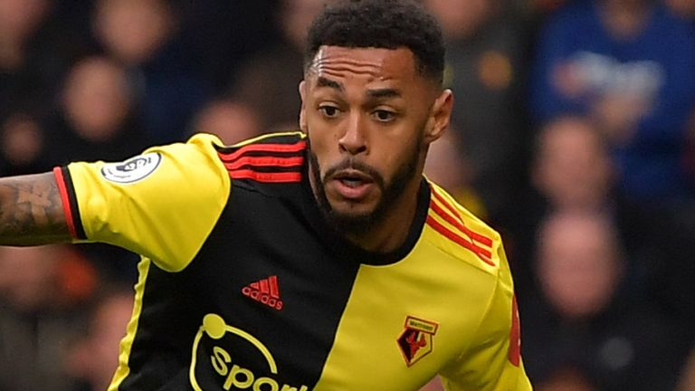 Andre Gray in Premier League action for Watford against Sheffield United during the 2019/20 season