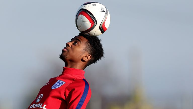 BUFTEA, ROMANIA - OCTOBER 29: Angel Gomes of England heads the ball during the U17 England Training Session at Football Centre FRF on October 29, 2016 in Buftea, Romania. (Photo by Ronny Hartmann/Getty Images)   *** Local caption *** Angel Gomes