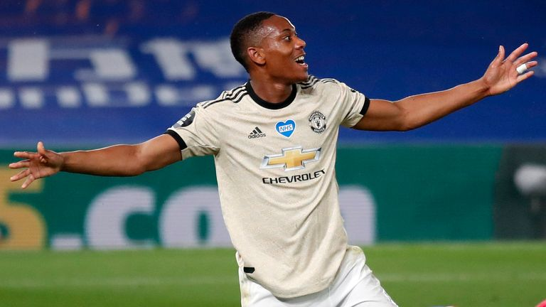 Anthony Martial celebrates after putting Manchester United 2-0 up at Crystal Palace