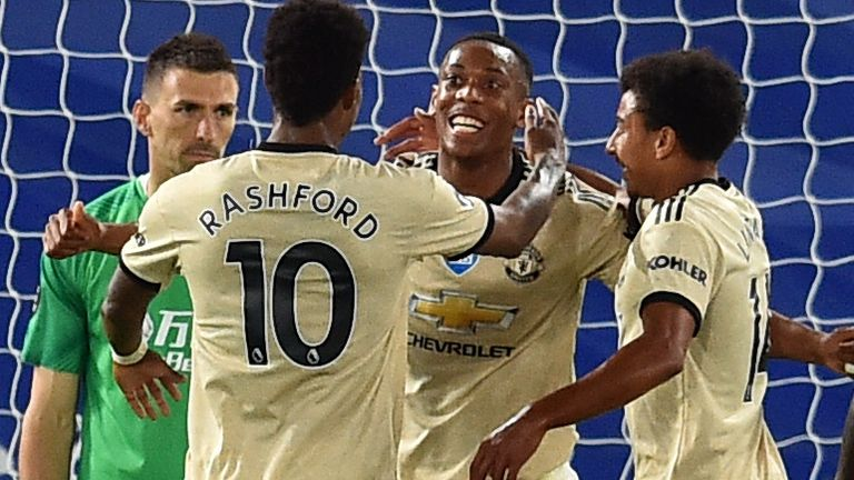 Anthony Martial celebrates scoring for Manchester United against Crystal Palace