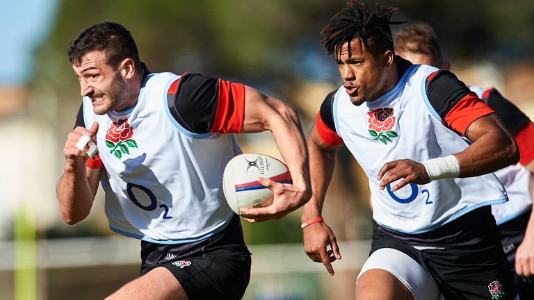 Jonny May of England (L) and Anthony Watson of England (R) in action during their training session as part of the England Media Access on January 26, 2018 in Albufeira, Portugal. (