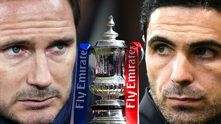 Frank Lampard and Mikel Arteta face off when Chelsea and Arsenal meet in the FA Cup final on Saturday