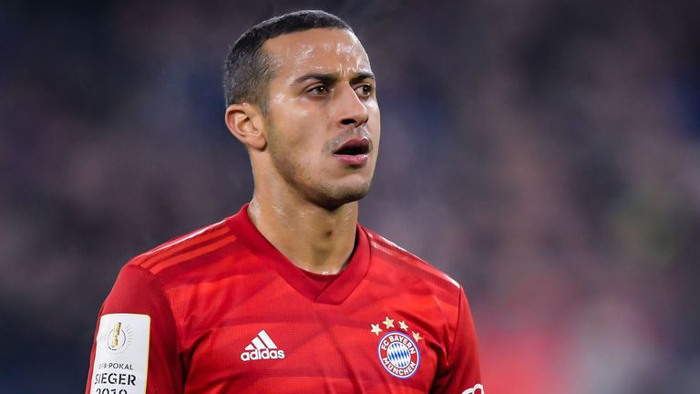 Bayern Munich's Thiago Alcantara during the German DFB Pokal quarter-final match vs FC Schalke 04