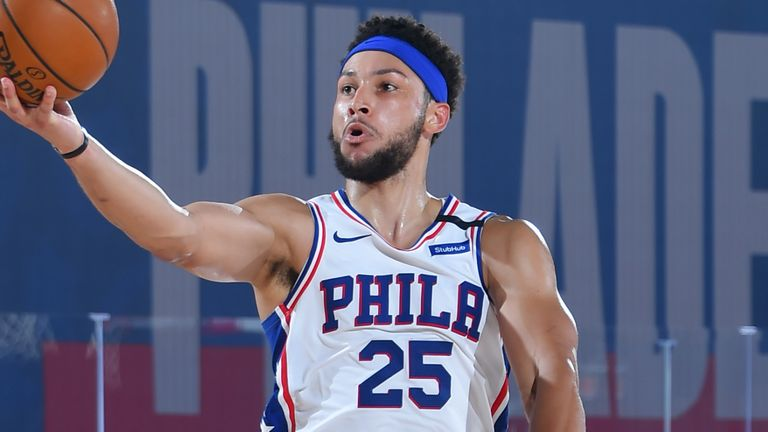Ben Simmons rises to the rim to score against the Memphis Grizzlies