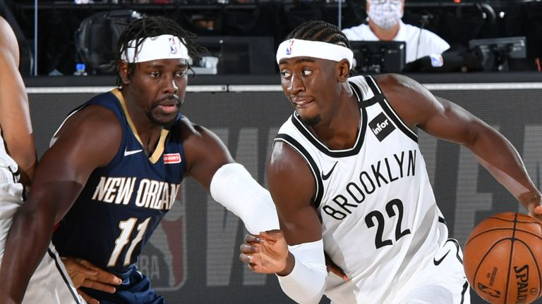 Caris LeVert attacks against the New Orleans Pelicans