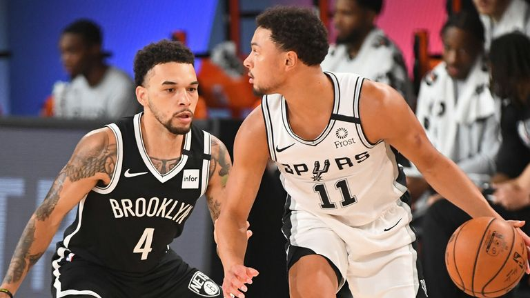 Chris Chiozza plays defense against Bryn Forbes