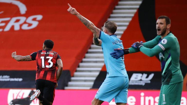 Tottenham players appeal for handball as Callum Wilson celebrates, but VAR ruled out the goal