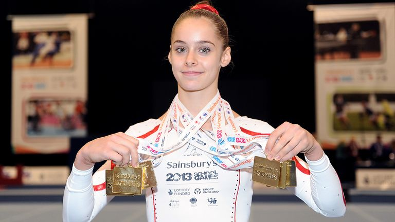England's Catherine Lyons with her medals from the Gymnastics at the 2013 Sainsbury's School Games