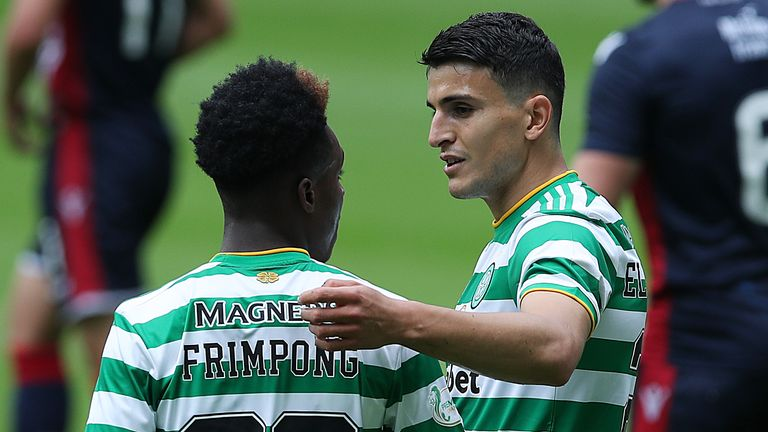 Mohamed Elyounoussi (right) helped Celtic to a 2-0 win over Ross County