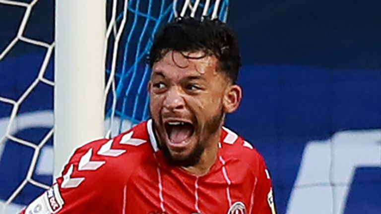 Macauley Bonne celebrates after scoring a second half winner for Charlton at St Andrew's