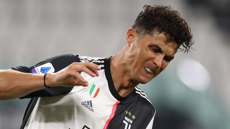 Cristiano Ronaldo celebrates after scoring for Juventus