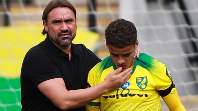 Daniel Farke comforts Max Aarons after Norwich's relegation
